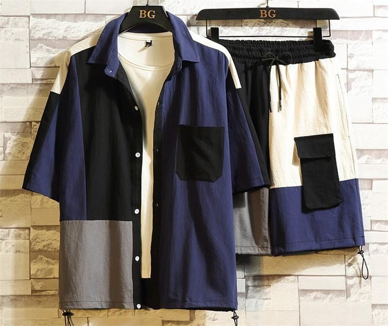 2 Stück Kleidung stellt Mens-Revers-Neck Kleidung Mens Fashion Cardigan Tracksuits Patchwork Designer-Taschen-Shirts Hosen