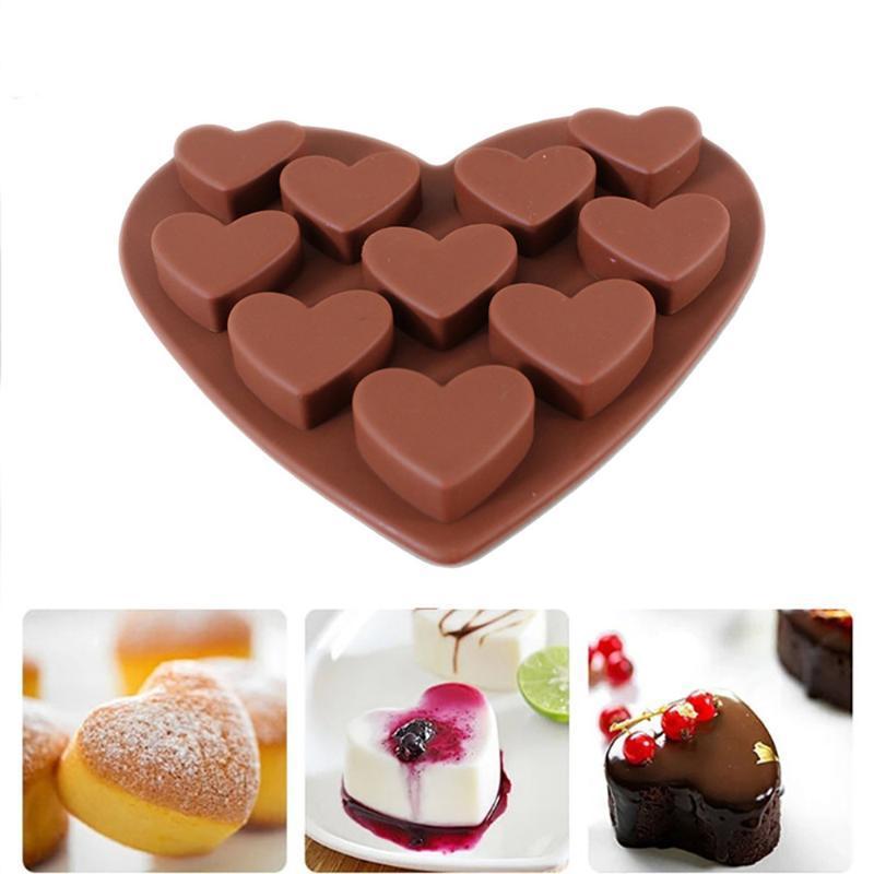 Love Heart Shaped Silicone Molds Fondant Cake Chocolate MoldTool Kitchen Baking Scraper 1pc