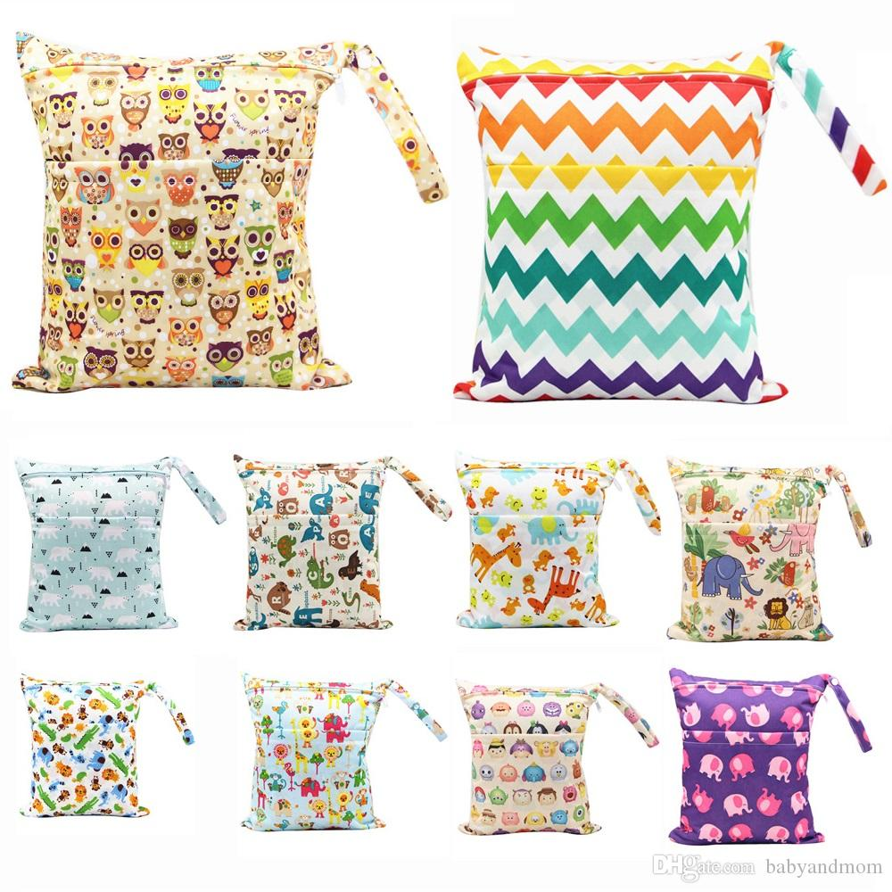 42 Types 30*36cm Brand Baby Wet Dry Diaper Bag Infant Travel Nappy Organizer Double Zipper Waterproof Tote Bag with Soft Snap Handle