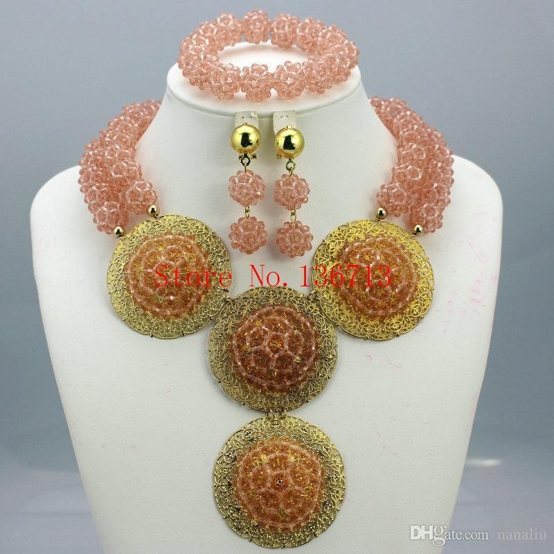Lüks Moda Bildirimi İyi Kalite Takı Za Marka Şık Kristal Afrikalı Boncuk Takı Setleri BC201-8