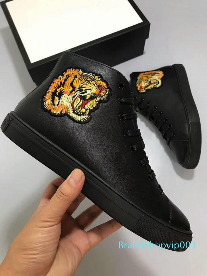 Fashion New Arrival Embroidery Tiger Wolf Bear Mans Causal Shoes High Top Blue White Gold Animal Prints Man Sneaker Size 38-44C20
