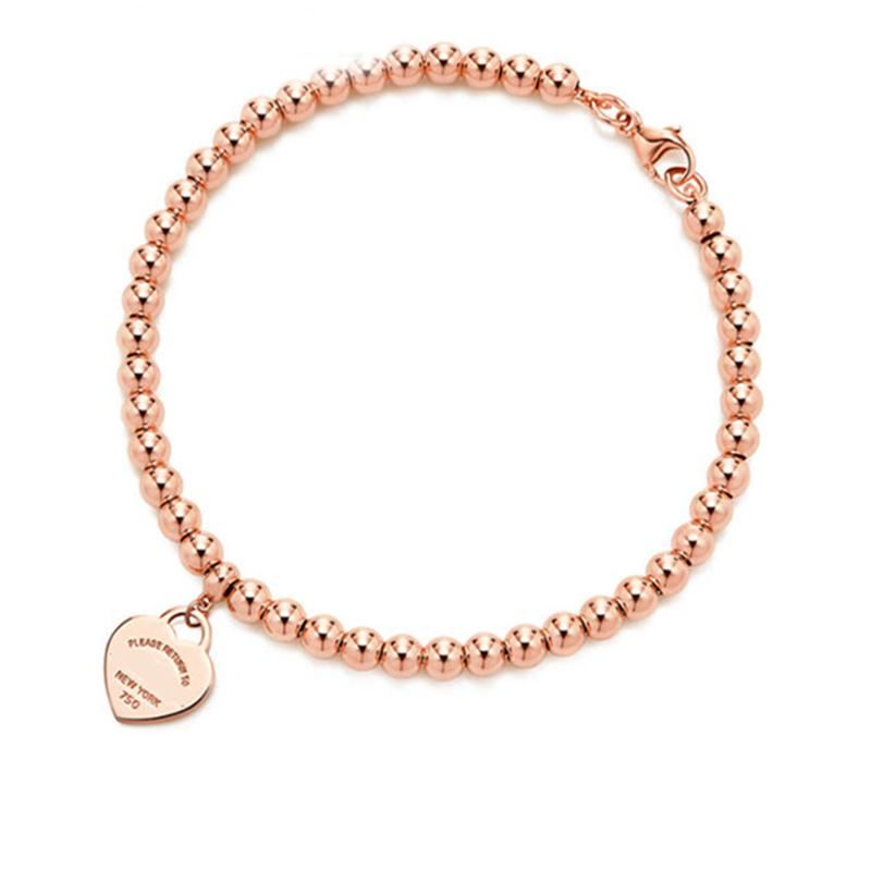 100% 925 sterling silver tag love original classic heart-shaped rosegold logo bead bracelet women jewelry gifts personality