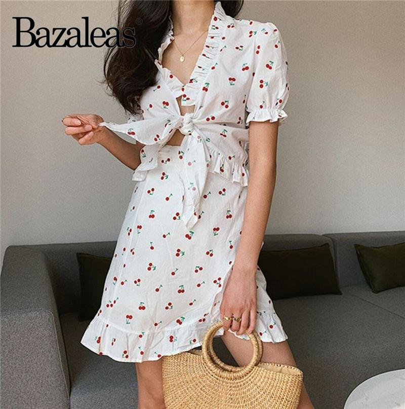wholesale Summer clothes for women Vintage Cherry Print two piece set Fashion tracksuit women Holiday 2 piece set women