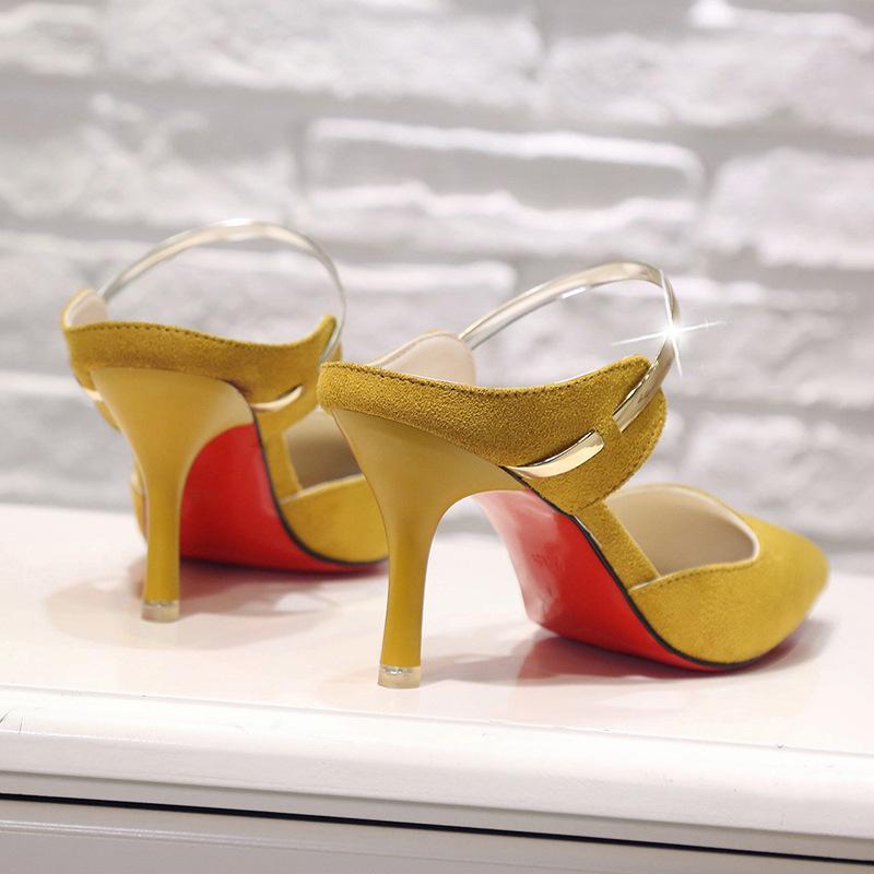 Damenschuhe Yellow Suede High Heels Spitzschuh Pumps Thick High Heel Pumps Herbst-Dame Party Frauen Heels CS08