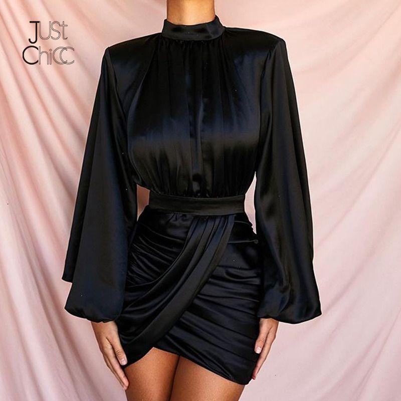 Justchicc vendaje invierno de manga larga vestido de las mujeres del cuello de O ajustado de cintura alta vestido atractivo del partido del club de noche Vestidos Vestidos Negro