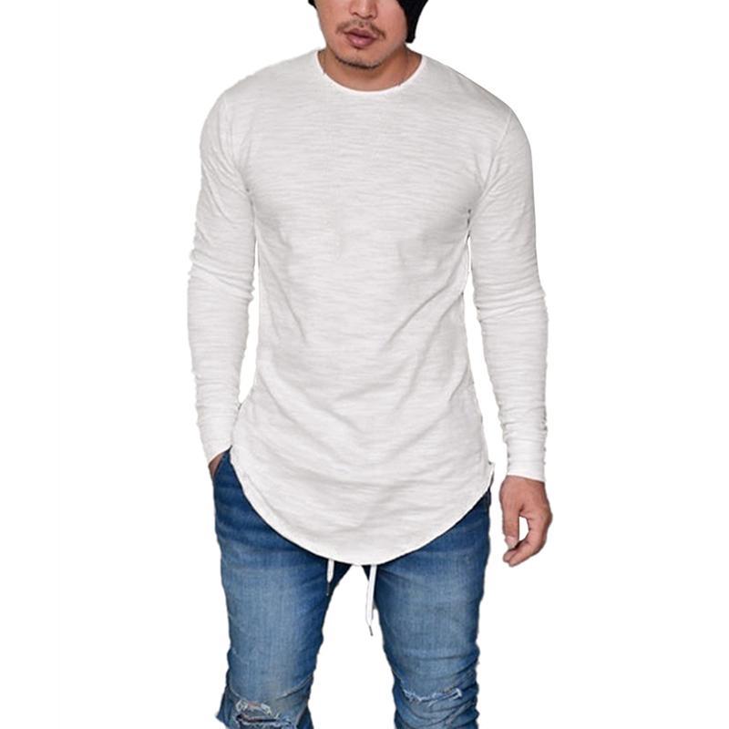 Oeak Men Pure Color O-образным вырезом с длинным рукавом футболки 2019 Новая мода изогнутый подол антистатические удобные тонкие дышащие пуловеры топы