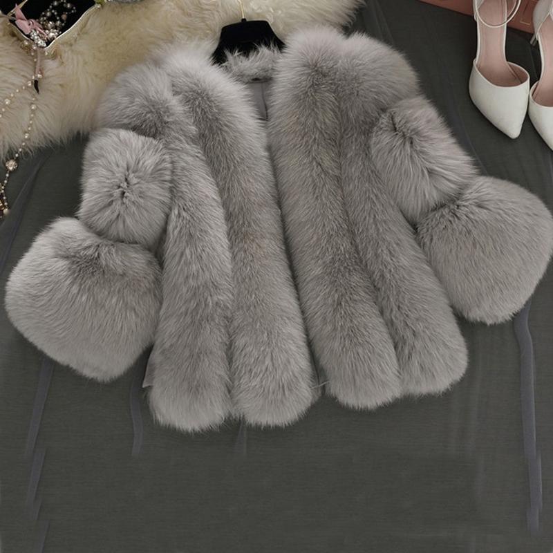 Fur coat Korean large size  fur imitation coat short women seven-point sleeve casual