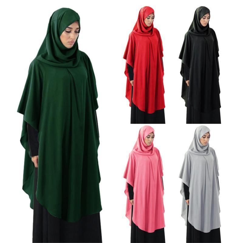 Long Khimar Muslim Mujeres Muslim Paryer Garment Ramadan Hijab Overhead Musulman Dress Vestido Niqab Scarf Islam Jilbab Burka Kafta Namaz