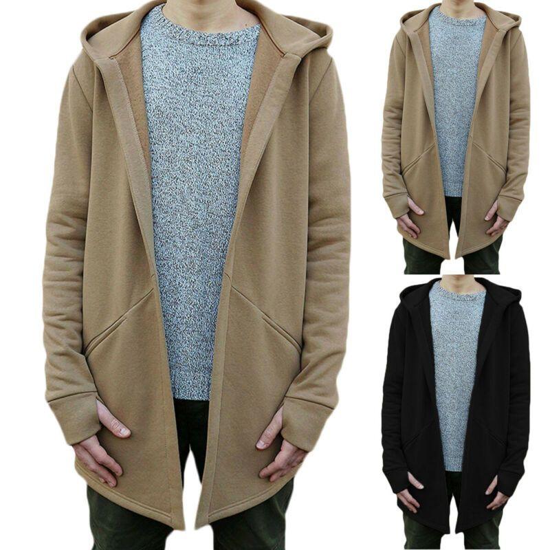 Moda Erkekler Casual Açık Dikiş Kapüşonlular Katı Kapşonlu Kalın Sıcak Sonbahar Kış Hırka Sweatershirts İnce Casual eskitmek