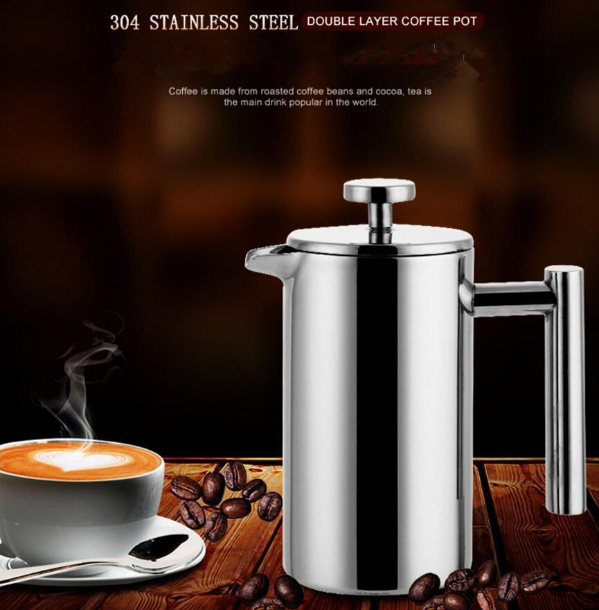 1000ml en acier inoxydable 304 Double couche française Presses Coffee Pot 150ML tasses en verre manuel plus grande capacité Maker de café
