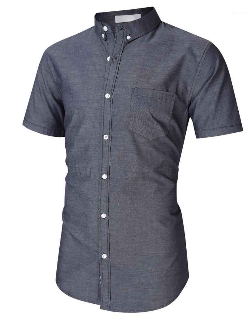 Нагрудные с коротким рукавом рубашки Большой размер Летний Fit однобортный Кардиган Мужской Свободный дизайнер Tops Mens Solid Color