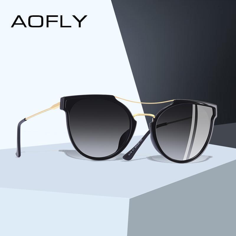 AOFLY MARQUE DESIGN Fashion® Sexy Cat Eye Lunettes de soleil femmes 2020 polarisants Lunettes de soleil classique Lunettes Gradient Oculos UV400 A116