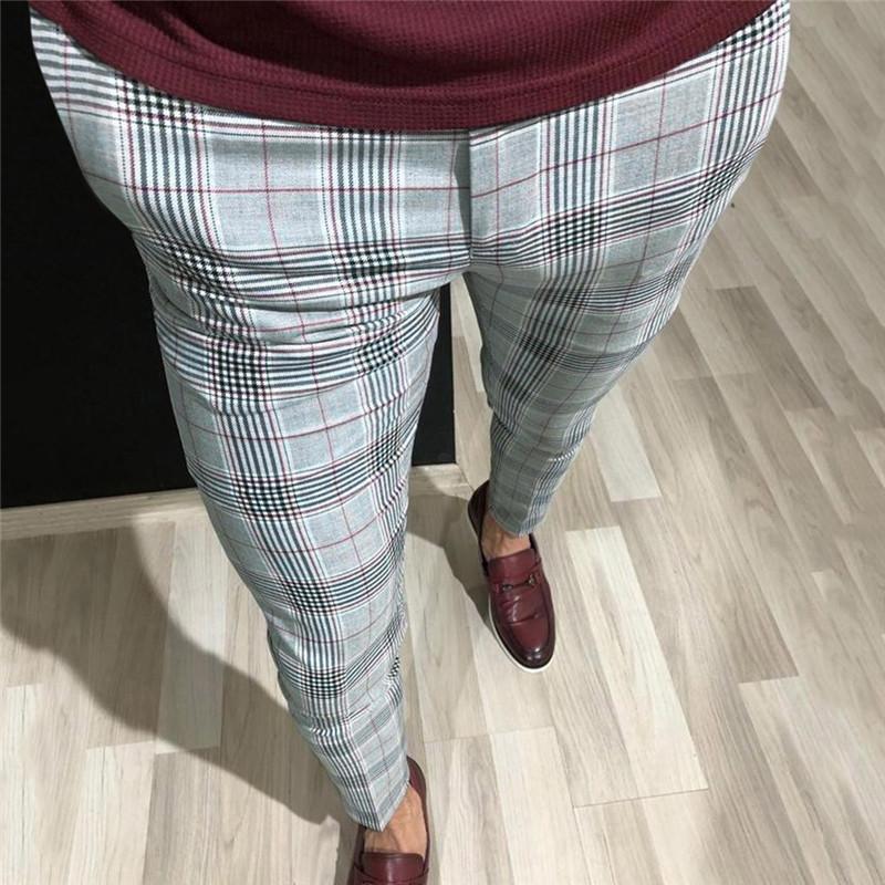 Мужская мода плед штаны Мужчины Уличная хип-хоп брюки Узкие брюки Chinos Тонкий Fit повседневные Joggers