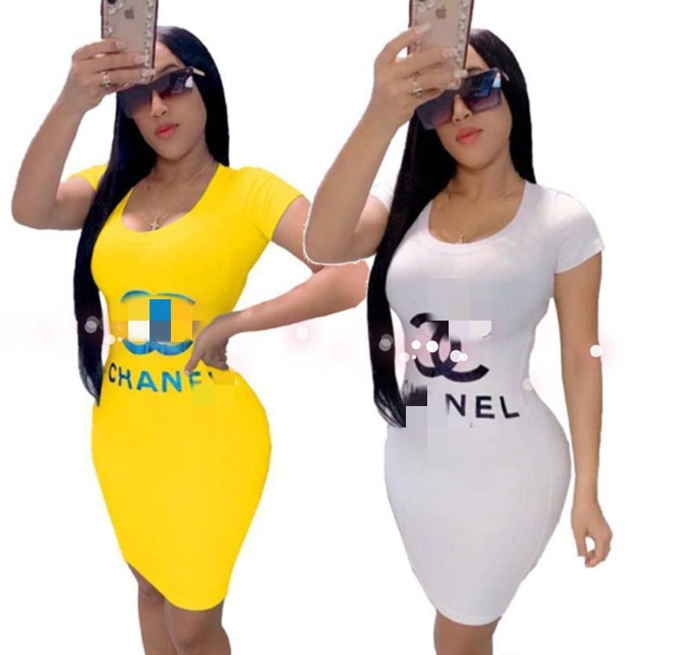 Verano caliente tendencia letra de la impresión vestido europeo y americano del desgaste de las mujeres Las mujeres ropa elegante de los vestidos del club Vestido Mujeres