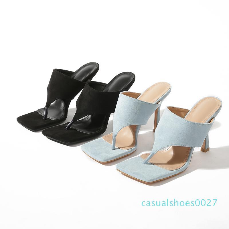 Pzilae 2020 Yeni moda bayanın yaz terlik çevirme yüksek topuklu kare ayak katı siyah mavi terlik bayan slaytlar ayakkabıları C27 flop