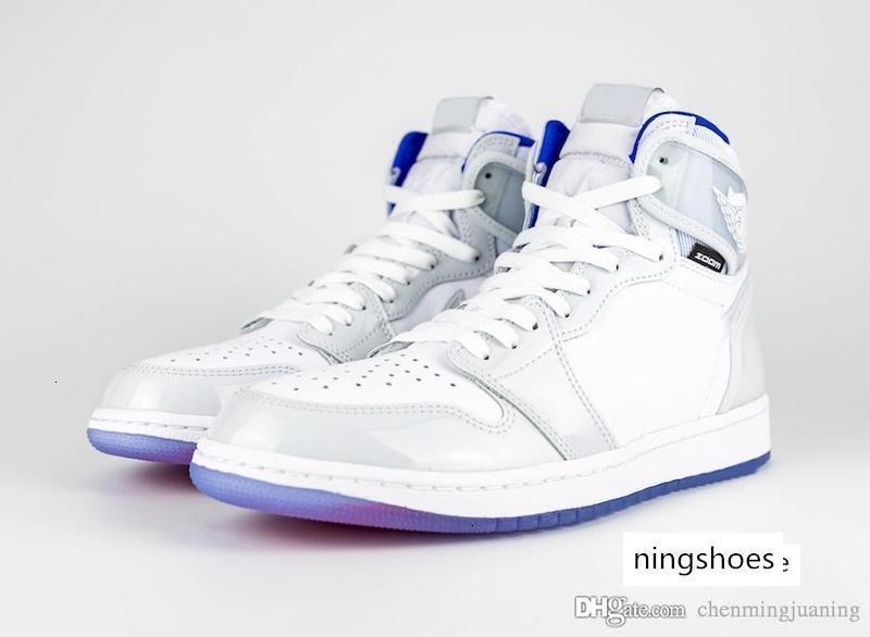 Venta caliente auténticos 1 zapatos de alta zoom R2T corredor azul baloncesto blanco retro Air 1S Hombres Deportes zapatillas de deporte con la caja CK6637-104