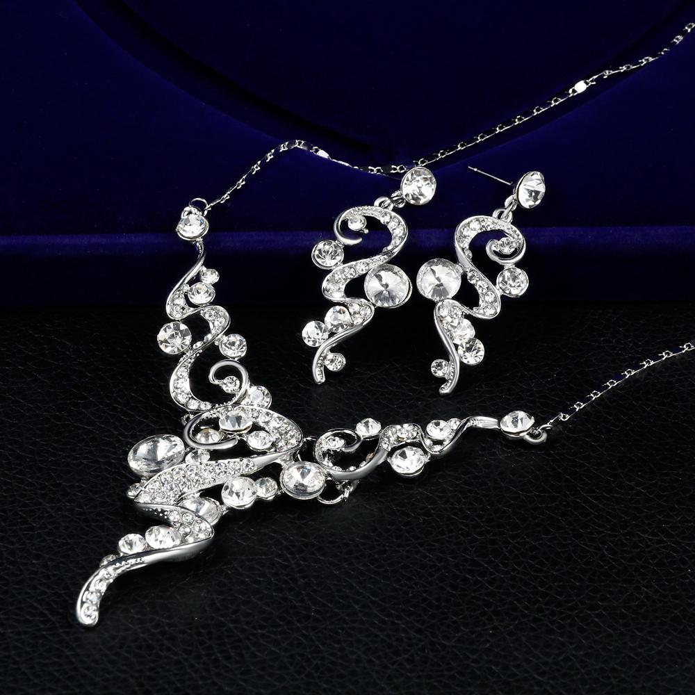 danbihuabi 2018 elegante set di gioielli da sposa bianco k strass collana orecchini set di gioielli costume per le donne regali