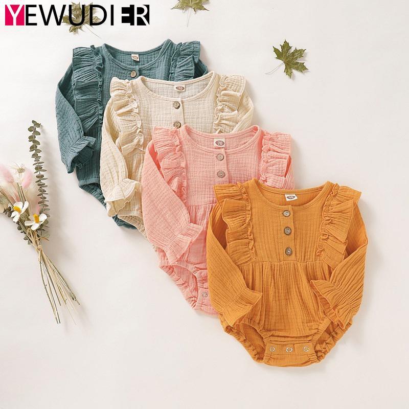 Bebé recém-nascido Romper roupa bonito Ruffle manga comprida Playsuit criança Cotton Outfit infantil de uma peça macacões traje Outono