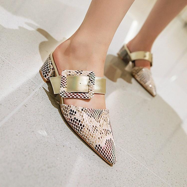Pelle Ebullient2019 brevetto Via Pu Baotou Coarse con le scarpe da Sharp di colore solido Serpentine Abbigliamento Slipper femminile Tipo