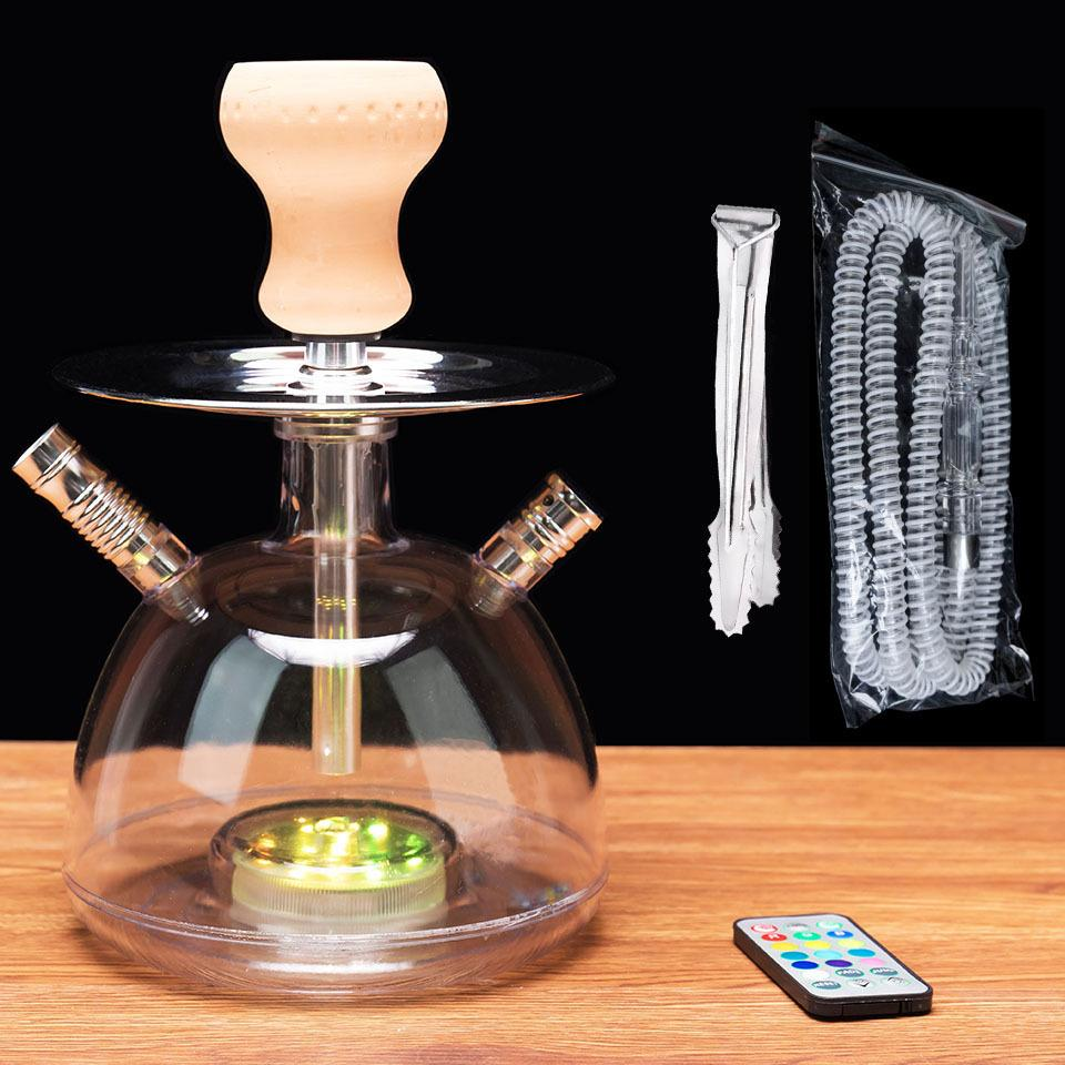 Acrylic Hookahs Shisha Smoking Shishas Water Pipe Hose Remote Multicolor Russian Style Complete Set Tobacco for Hookah Bowl Chicha