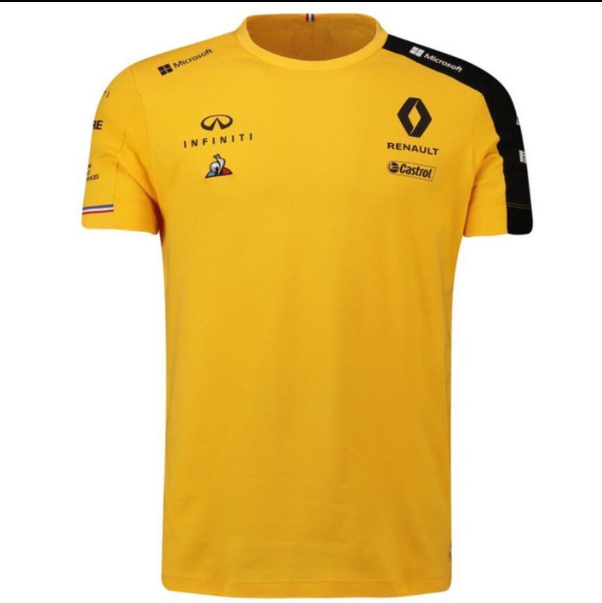 F1 motocicleta Fórmula Um poliéster de secagem rápida da equipe Renault, Renault 2019 T-shirt Ricardo piloto de corridas de manga curta terno Infiniti com a