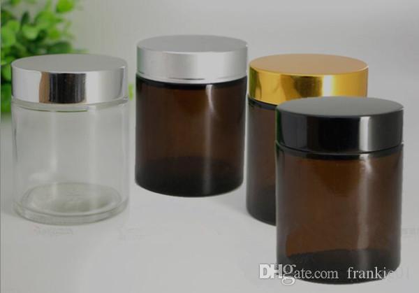 Bocal en verre de 100 ml de verre cosmétique ambre clair contenant de la crème de cire et contenant de la crème, avec couvercle en or noir et argent