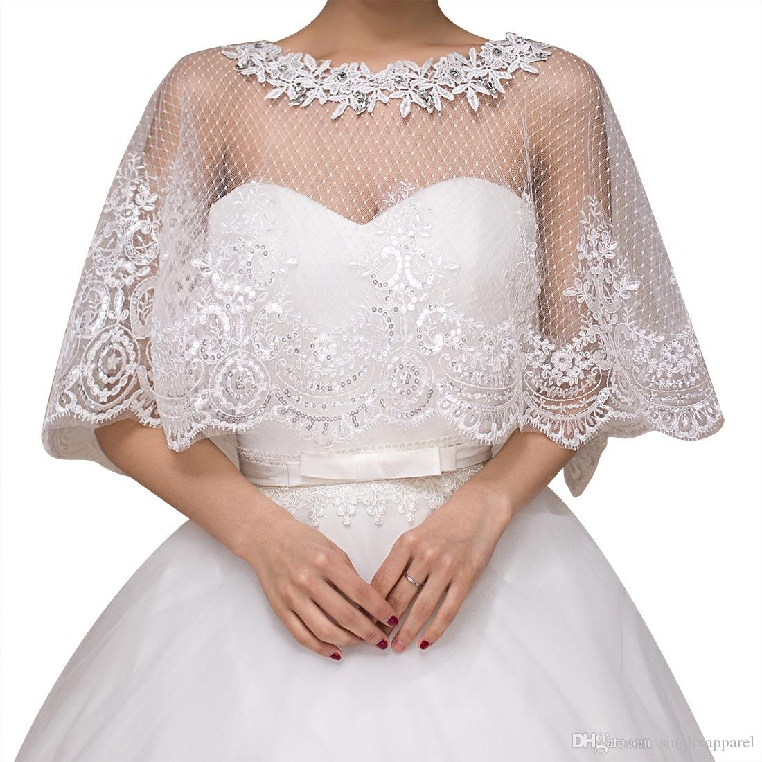 Wedding Embroidered Lace Tulle Shrug Summer Bridal Lace Shawl Tulle Wraps for Bridesand Bridesmaids Girls Lace Stole