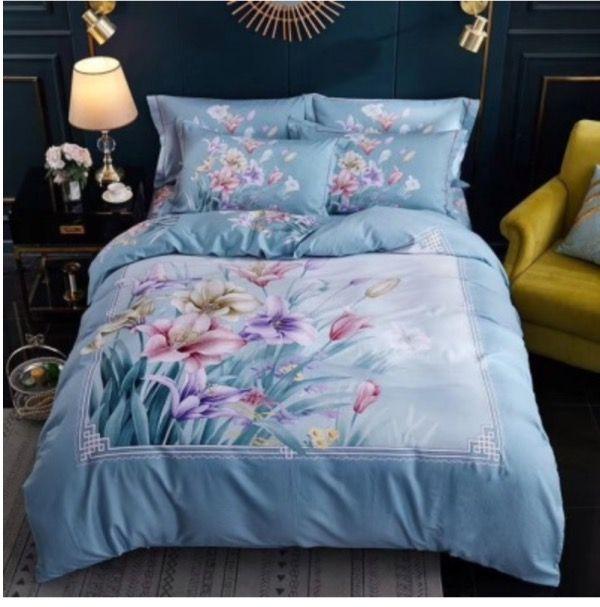 Good Quailty 100 Cotton Oil Print Bedding Sets Queen Size Blue Flower Duvet Cover flat sheet Pillowcases/Twin Full Queen King Size