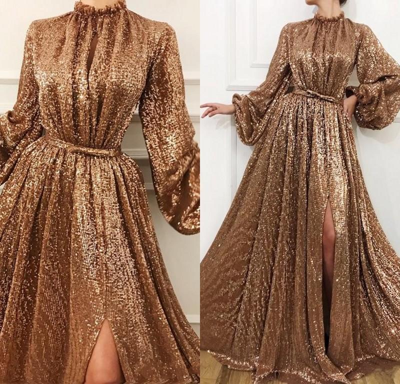 Sexy Sparkling Gold Sequins Evening Dresses High Neck High Side Split Prom Dress Long Sleeves Dress Evening Wear robes de soirée