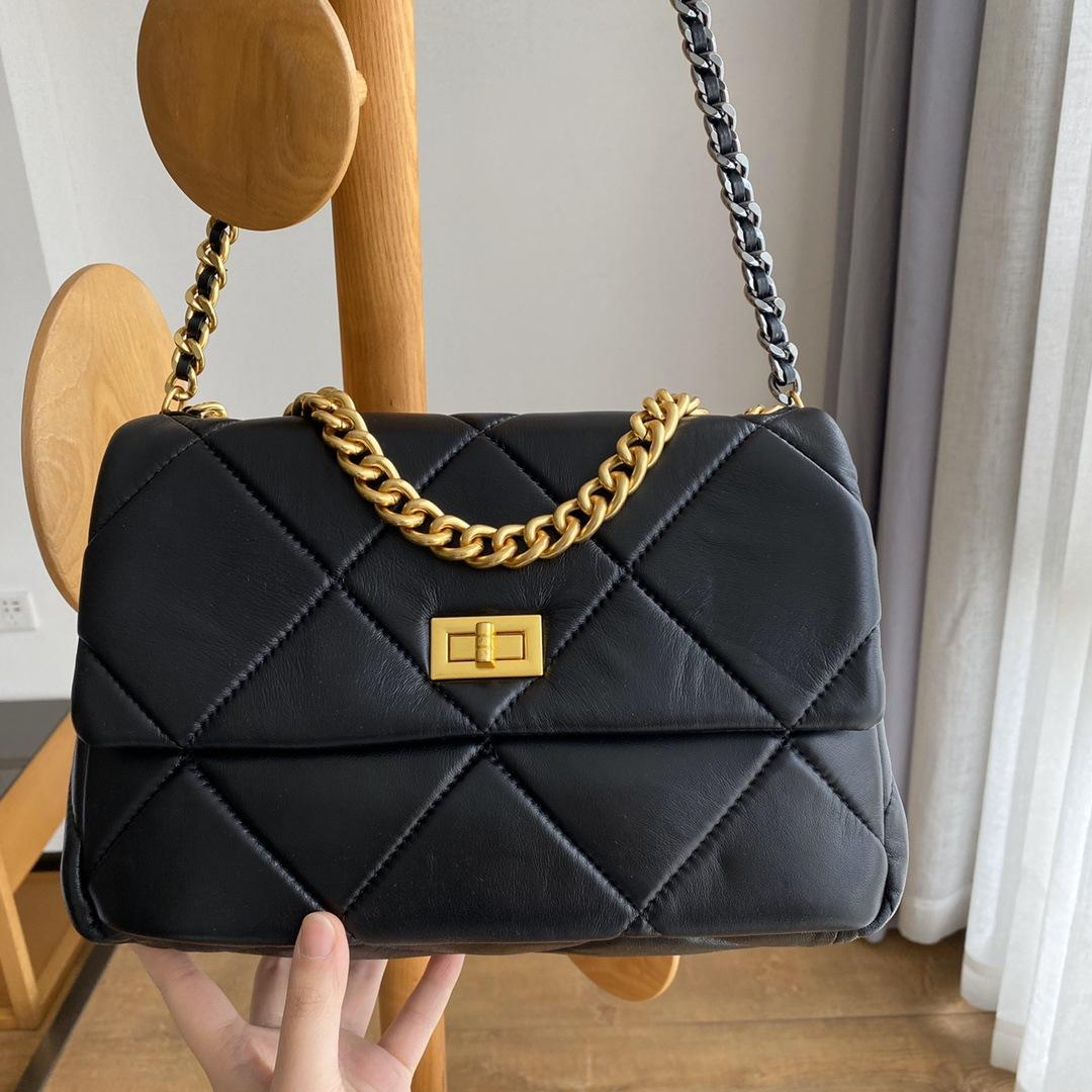 Retro elmas zincir çanta 2020 yeni deri marka moda tasarımcısı kilit bayan omuz çantası
