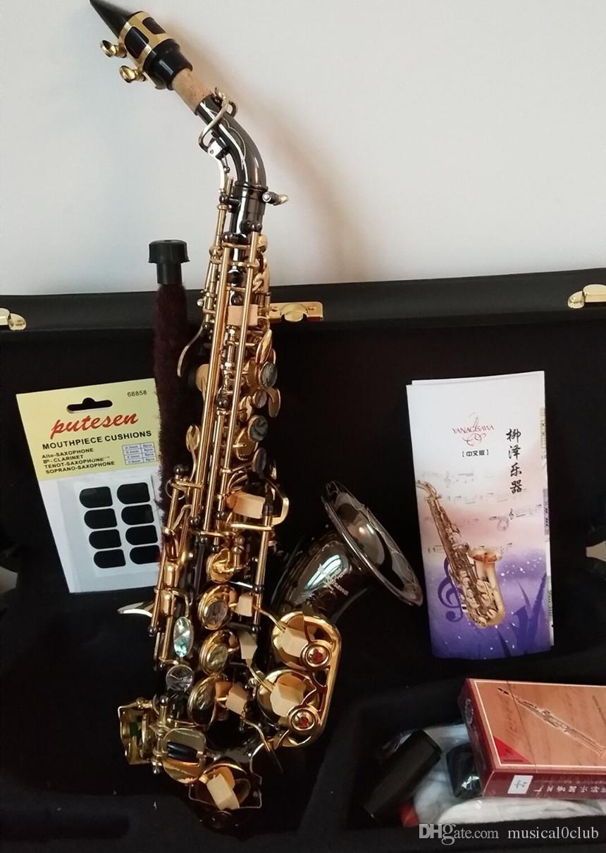Kavisli Yeni Soprano Sax Japonya Yanagisawa S-991 B Düz sax müzik aletleri Siyah Nikel Altın Profesyonel Nakliye