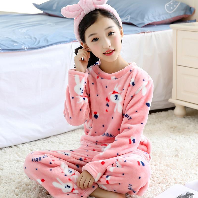 H5666 Meninas Outono Inverno pijamas de veludo coral flanela espessamento Roupa de Noite Início Clothes Suit Mulheres dos desenhos animados Pijamas Confortável