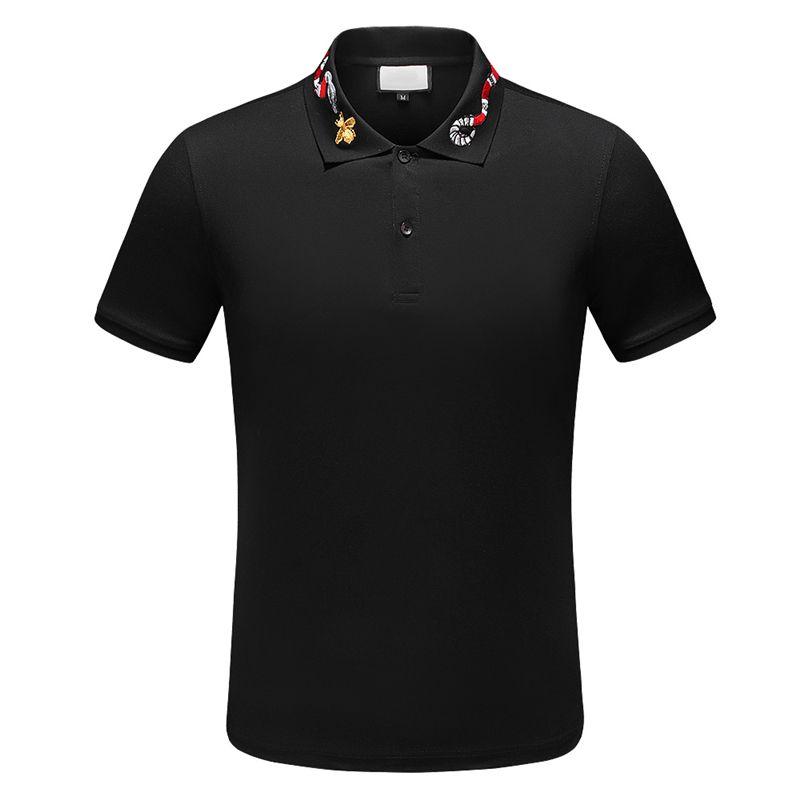2020 diseñador de la camisa de polo de la raya camisetas polos serpiente abeja florales hombre alto calle polo de caballo de moda de lujo camiseta