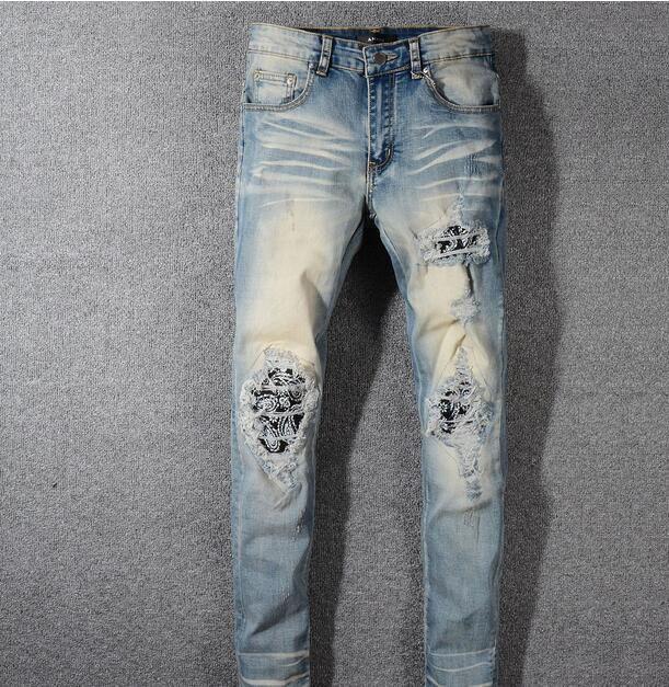 Jeans strappati da motociclista strappati da uomo Jeans da motociclista Biker da motociclista slim 2019 Pantaloni da uomo nuovi di tendenza Hip Hop Jeans # 579