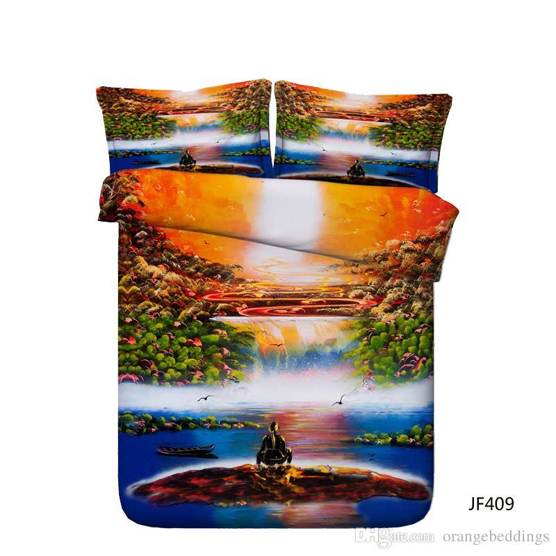 Decorativo 3 Peça Conjunto de Cama Com 2 Travesseiros Shams 3D Galaxy Pirâmide Meditação Yoga Capa de Edredão Set Universo Oceano Dolphin Bed Set Crianças