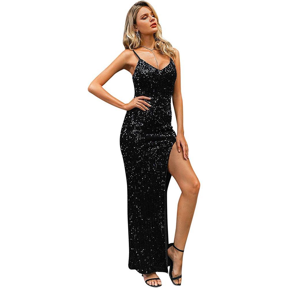 Tiefer V-Ausschnitt Pailletten-Partei-Kleid-Frauen-Verpackungs-Rüschen besetzte Sleeveless reizvolle schwarze lange Kleider Damen Cocktail Diskothek Partei-Kleid Vestidos