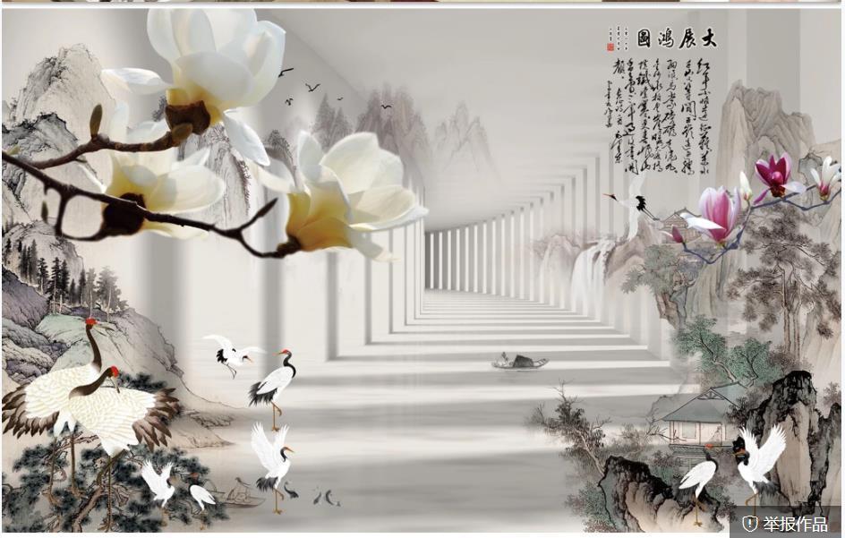 carta da parati moderna per soggiorno 3d pittura cinese pittura cinese stereo tv sfondo decorazione della parete della pittura