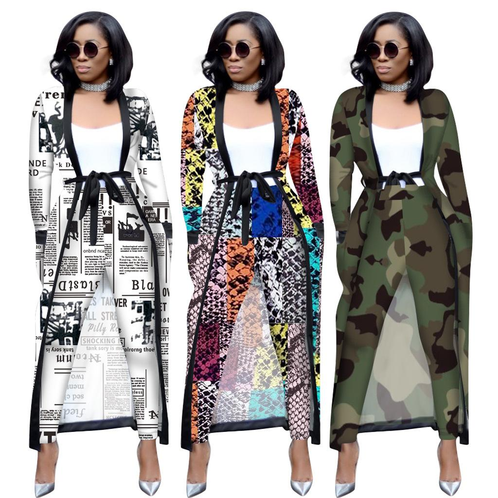 Kadınlar Pantolon Ve Jacket Moda Ofis Lady Patchwork Uzun Kollu Hırka ceket Casual 2 adet Seti için 2019 Şık Afrika Suits