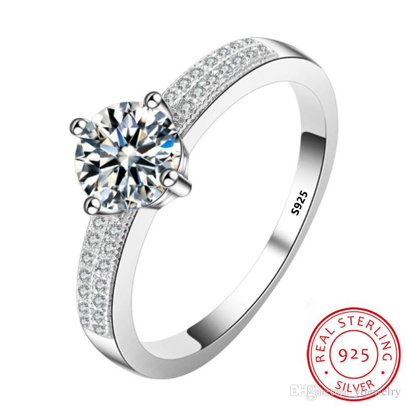Luxury Wedding Rings for Women 925 Sterling Silver 1 Ct Cubic Zircon Wedding Engagement Ring Jewelry Gift Fashion Accessories XR022