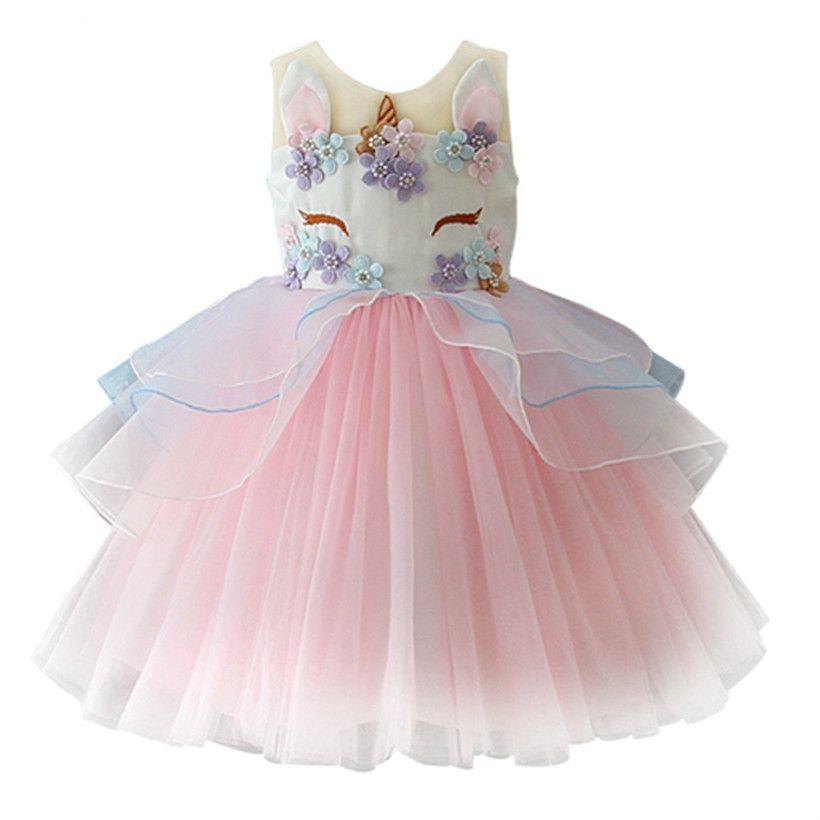Compre Fancy Kids Unicornio Vestido De Tul Para Niñas Bordado Vestido De Bola Niña De Flores Princesa Vestidos De Fiesta De Bodas Trajes Unicornio A