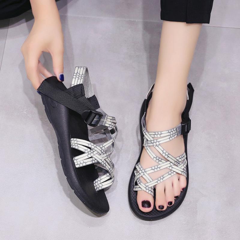 Padegao Plaj Düz Takozlar Ön Arka Kayış Çapraz kayış Kadın Sandalet Moda Yaz Sandalet Nötr Eğlence Sandalet 2018 Yeni Y19070203