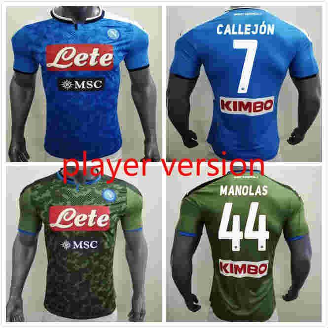Jogador Versão 19 20 Nápoles Napoli Home Futebol Jerseys Napoli Camisa de Jerseys de futebol azul para homens 2019 Lozano Hamsik L.Insigne Camiseta
