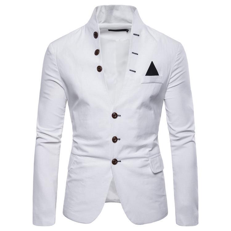 Homens Ternos Blazers Sólidos Moda Balzer para Suit Collar Stand-up Casual Primavera Outono Multi-botão de Homens decorativa