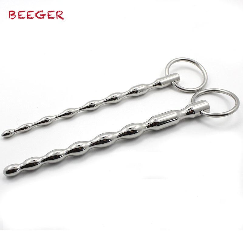 Beeger Dois Tamanho / lote Uretral Sound Toys, Aço inoxidável suave Cateter, Plug uretral, masculino Soando Dilatador, pênis SH190730 pênis