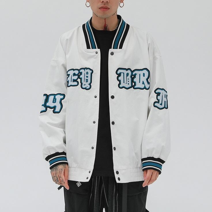 2020 Hip Hop Giacca con scollo a V da baseball da uomo casual Lettera ricamo Mens cotone Windbreaker di modo del cappotto Streetwear Tops