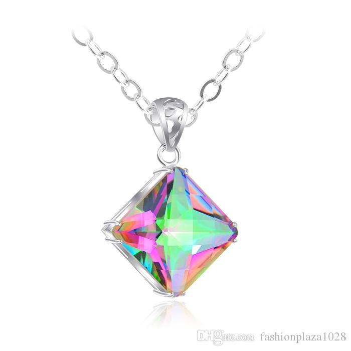 Luckyshine New Women Square Rainbow Natural Mystic Topaz Gems Silver Necklace Party Wakacje Biżuteria Prezent