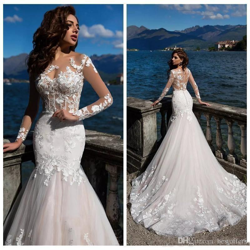 2020 Long Sleeves sheer Neck Mermaid Wedding Dresses Sexy Illusion Bodice Lace Appliqeud Backless Button Beach Wedding dress 2020