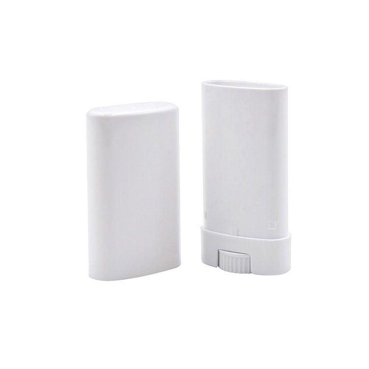 Tragbare DIY 15 ml Kunststoff leerer ovaler Deodorant-Stick-Container klare weiße Mode-Lippe-Balsam-Lippenstift-Röhrchen