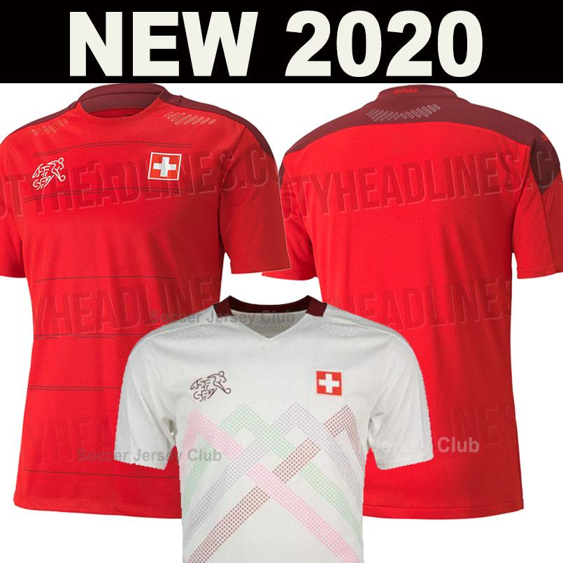 2020 스위스 집 빨간색 축구 유니폼 2021 스위스 멀리 흰색 Akanji 리아 로드리게스 국가 대표팀 축구 셔츠 남성 + 아이 키트 세트