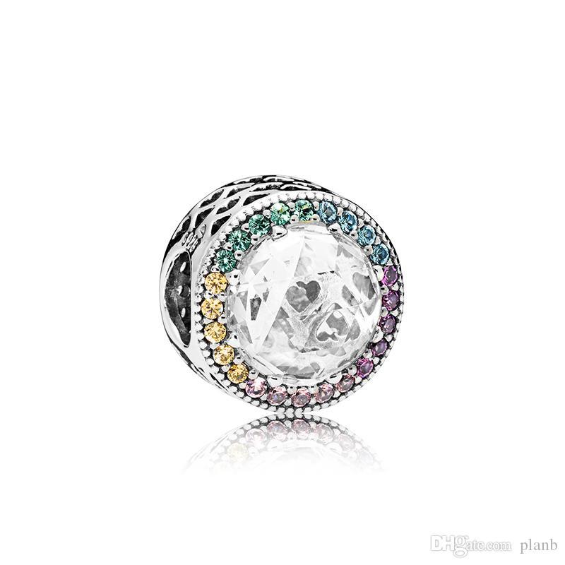 925 Charmes en argent Sterling Logo Boîte d'origine pour Pandora Couleur Cryond Bracelet Bracelet Charme Perles européennes pour la fabrication de bijoux